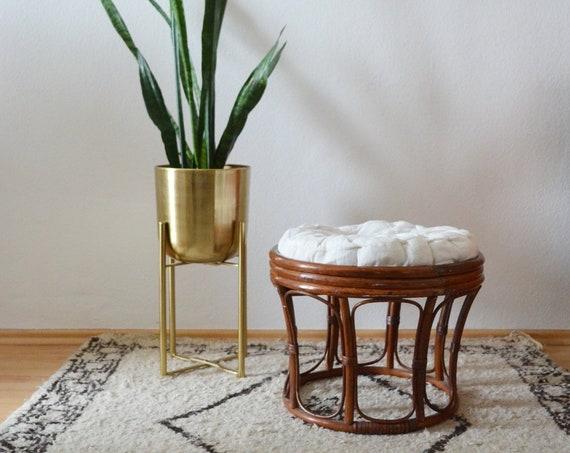 Vintage Bamboo Stool boho bamboo stool round