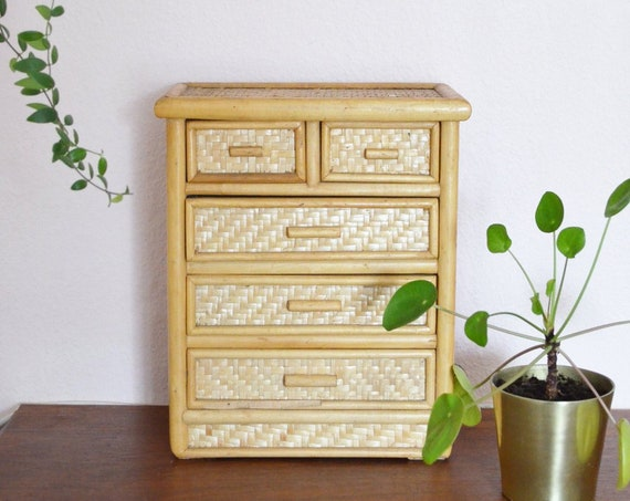 Bamboo mini Chest of drawers jewelry Box Small store vintage
