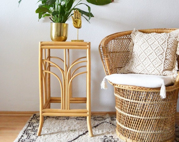 Rattan & bamboo side table round flower column plant stand Wicker side table plant stand is wood boho vintage