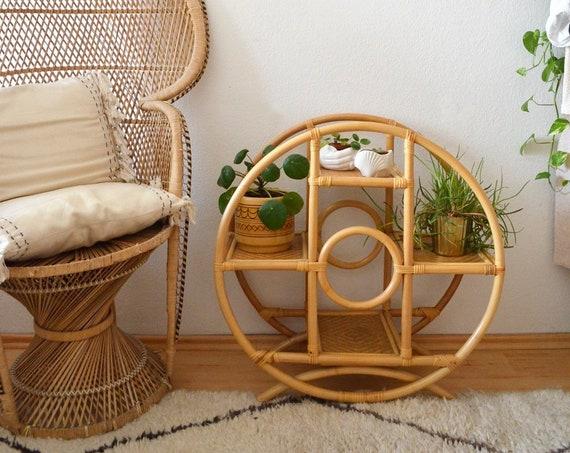 Vintage bamboo circle shelf plant stand flower stand plant plant stand plant stands bamboo round circle boho