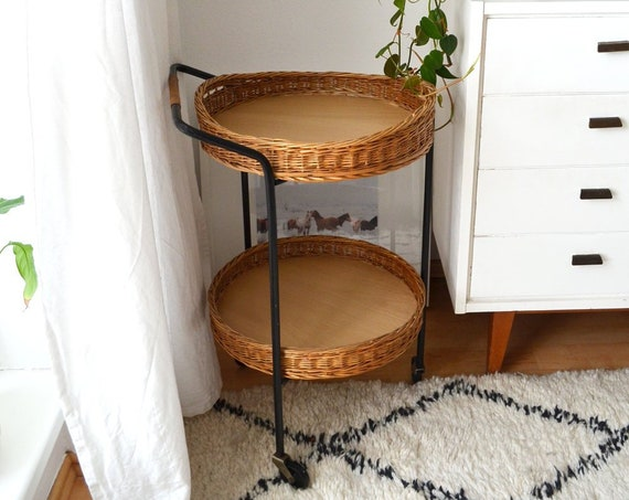 Vintage Rattan trolley mid century bar cart black round tea trolley trolley occasional table side table 1950 's