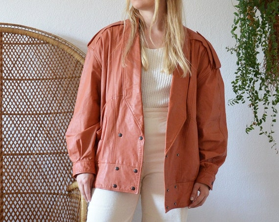Vintage Oversized Leather Jacket Jacket cognac Blouson Size M