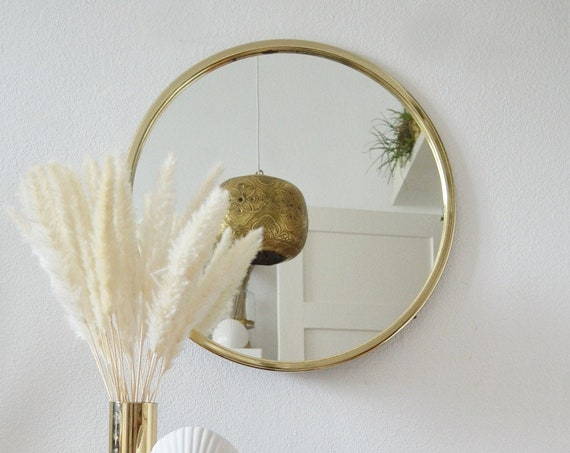 Large mid century brass wall mirror mirror gold around 1950's brass mirror vintage