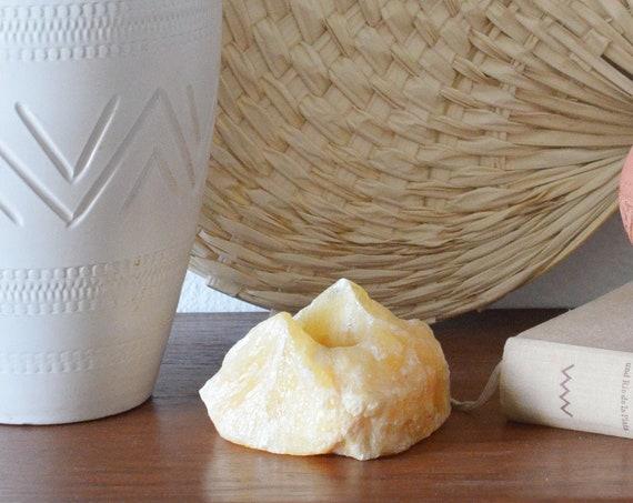 Vintage Quartz Salt Crystal Tea Light Holder Candle Holder Beige
