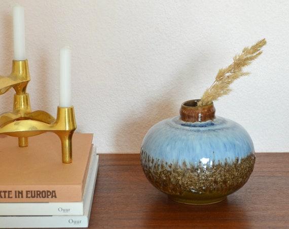 Mid century vase round blue brown handmade