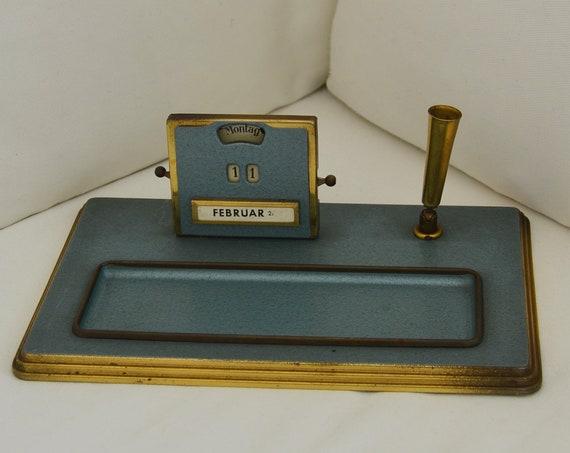 Mid century Table Calendar Brass Table Set Office