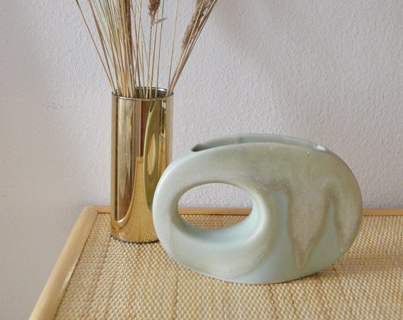 Mid century vase mint green / beige handmade round circle with hole