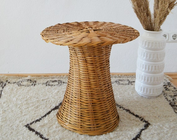 Vintage rattan table round boho side table bohemian wicker side table