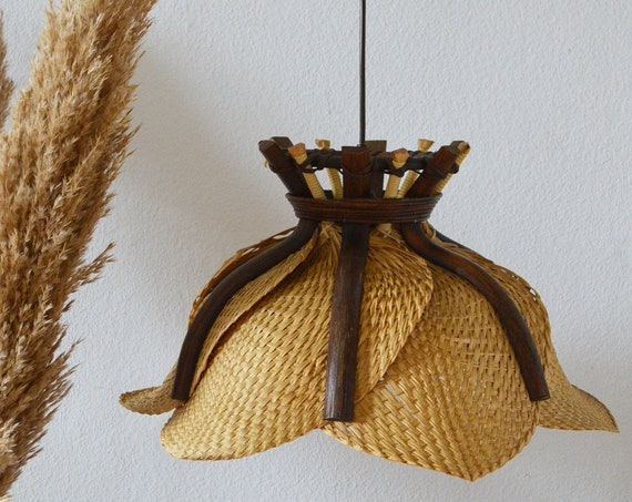 Mid Century Rattan & Bamboo hanging lamp round vintage lampshade palm frond fan fan lamp
