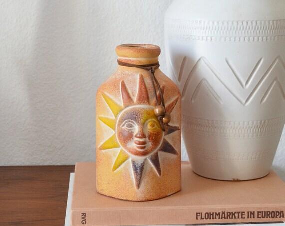 Mid century vase sun terracotta ethno boho handmade