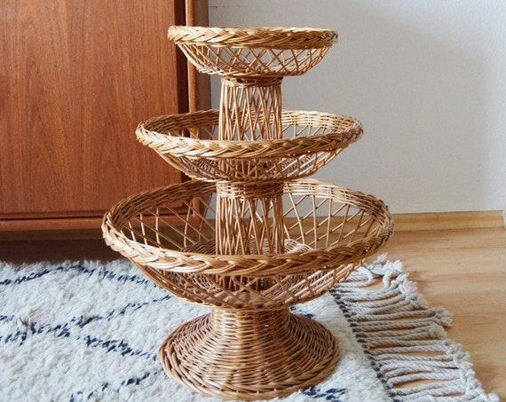 Rattan basket flooring plant stand plant stand boho round wicker boho home décor vintage