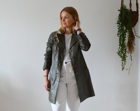 Vintage leather coat coat leather dark green dark green S - M