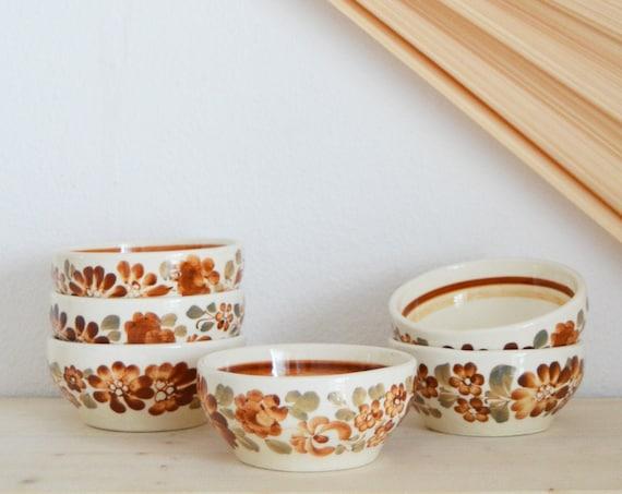 Set vintage bowls bowls FAJANS ceramic earthenware floral flowers beige brown