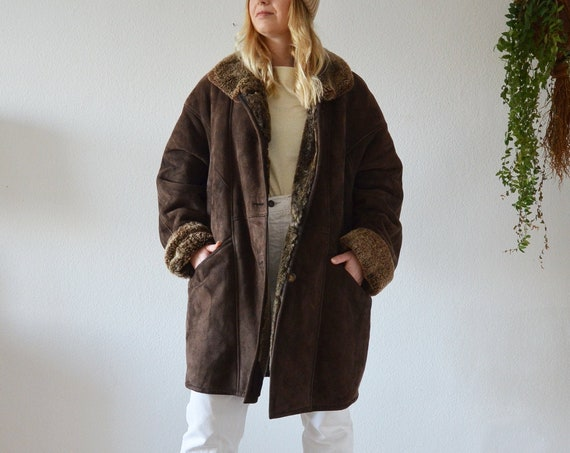 Vintage Shearling Coat Jacket Brown S - M