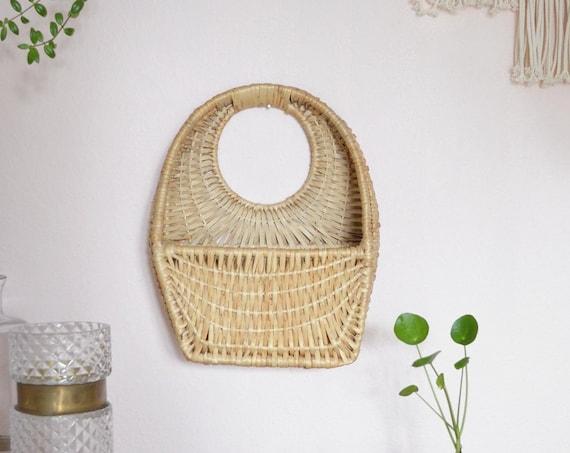 Vintage Rattan wall basket MITTEL wicker wall basket plants planting basket wall planter boho