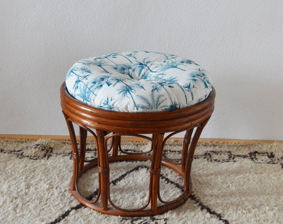 Vintage bamboo stool with palm pillow boho bamboo stool round