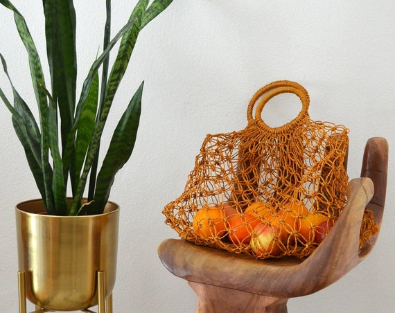 Vintage Macrame Bag Jute bag handmade Macramee Hippie handbag Boho Rust