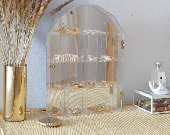 Mirrored acrylic glass and brass jewelry cabinet sit box schuck box gold vintage