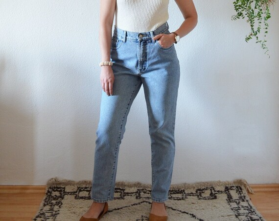 Vintage HIS Denim Jeans Pants 27/34 Mom Slim high waisted tall