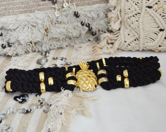 Vintage belt pass brass cord black/gold