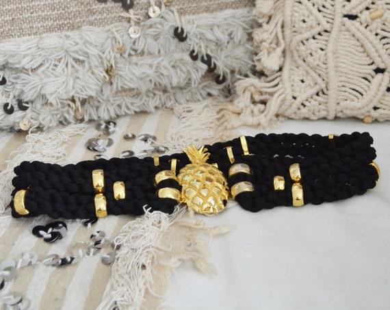 Vintage belt pineapple brass cord black / gold
