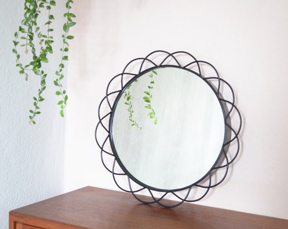 Vintage iron mirror round wall mirror black