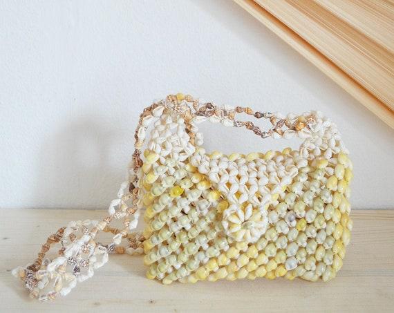 Vintage bag handbag made of shells beige boho