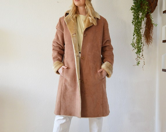 Vintage Shearling Coat Jacket Beige Brown S - M