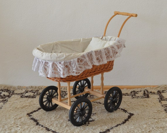 Vintage stroller doll's truck rattan toy