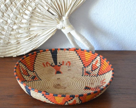 Vintage rattan fruit bowl basket red orange black bowl vintage wicker fruit basket round boho