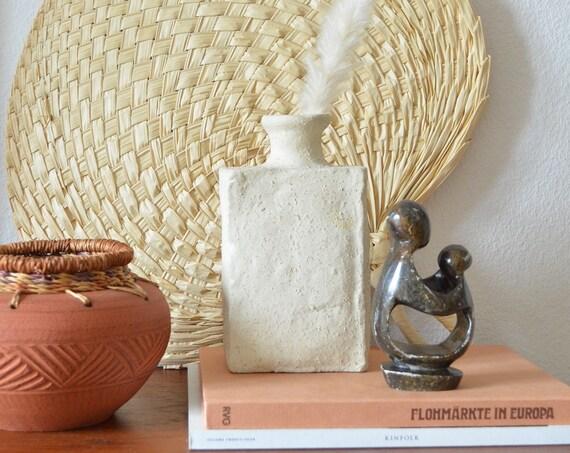 Mid century vase beige handmade