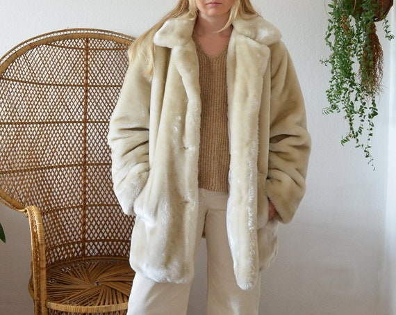 Vintage faux fur jacket coat cream white size M