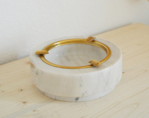 Mid Century Marble & Brass Ashtray Bowl boheme