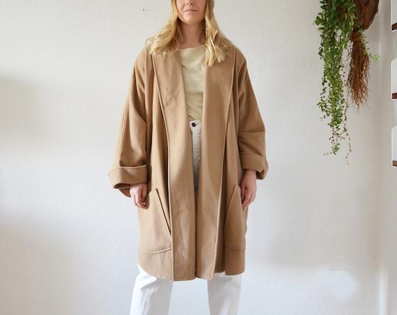 Vintage Cape Coat Schurwolle Cashmere Jacket Beige S - L