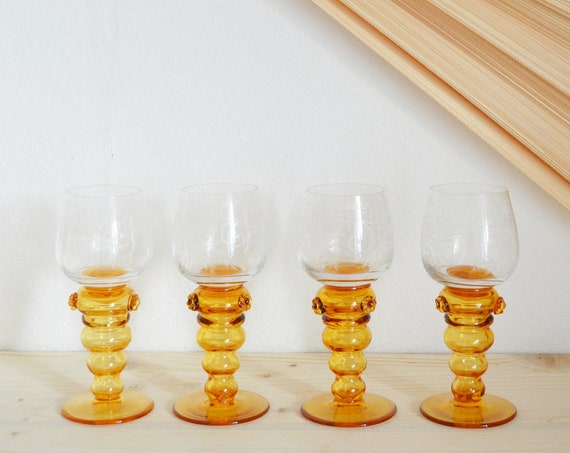Set of 4 glasses wine glass liqueur glass stem glass brown, mustard mustard yellow