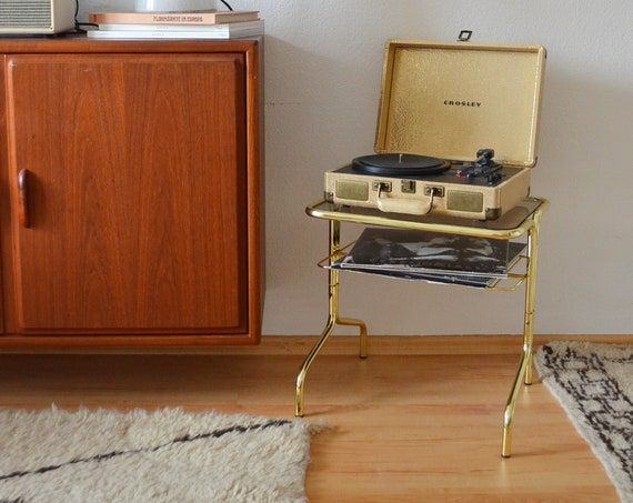 Gold Vintage Record Stand, side table brass with glass for turntables