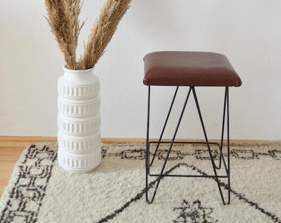 Mid century stool brown / black leather wrought iron iron
