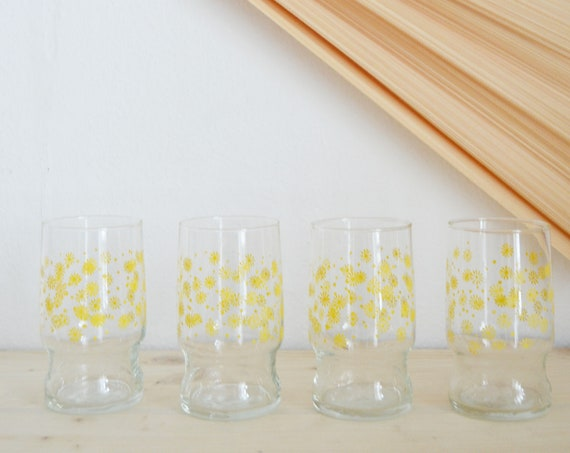 Set of 4 drinking glasses glass flowers floral 80s yellow