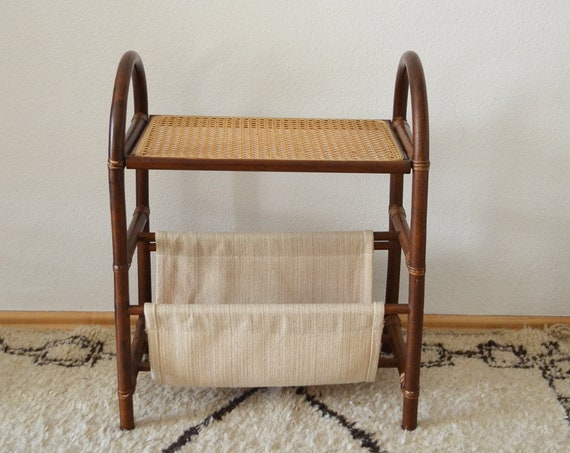 Mid century bamboo serving trolley, bar trolley, newspaper stand, table, record stand, side table teak wood linen