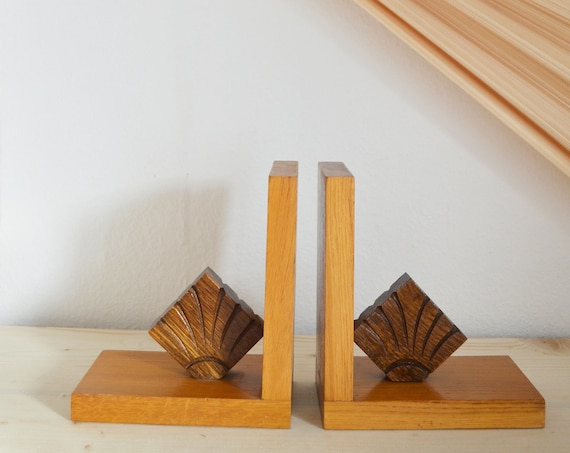 Mid Century Bookends Set Shell Wood Home Decor