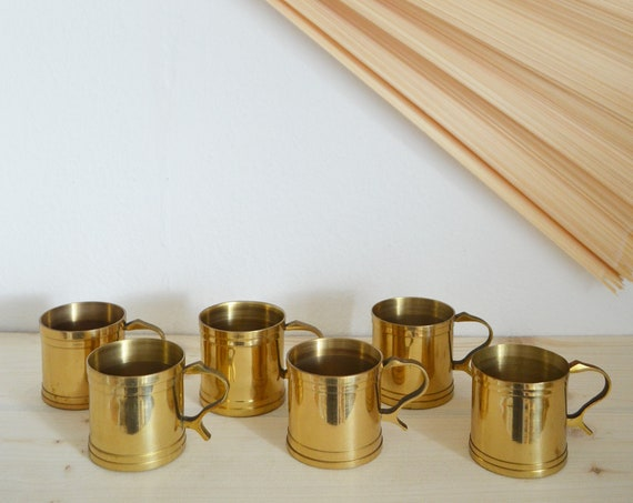 Mid Century Set of 6 brass cups mug gold