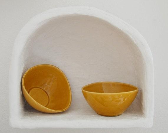 Set of 2 bowls bowls beige earthware ceramic vintage
