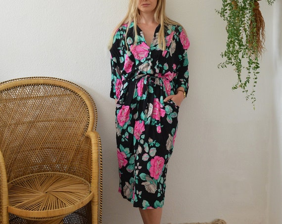 Vintage Clothing - Size M / 1970s Floral Dress Black Pink Green