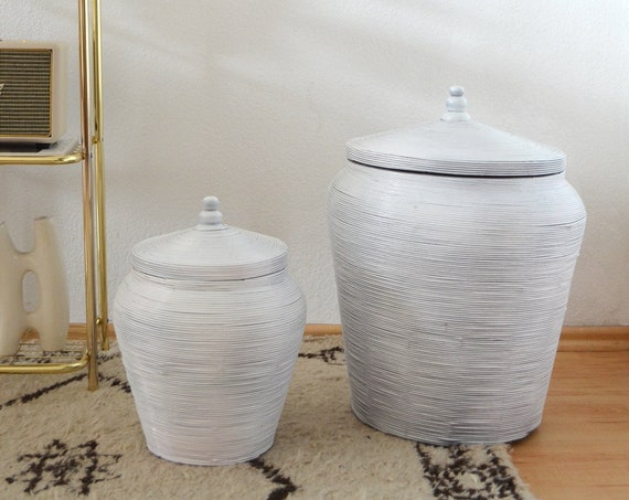 Set of 2 vintage bamboo baskets with lid white trash basket Wicker rattan basket round round boho