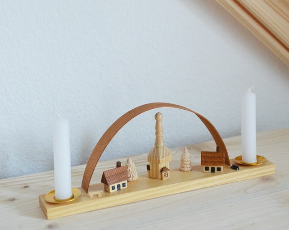 Mid Century Candlestick Wood & Brass 1950s Candle Holder vintage Christmas Window Arch