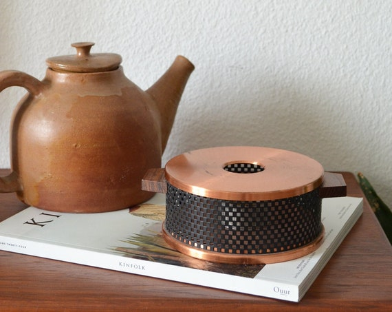 Vintage Copper & Teak Wood Stövchen Tea Warmer Pot Warmer