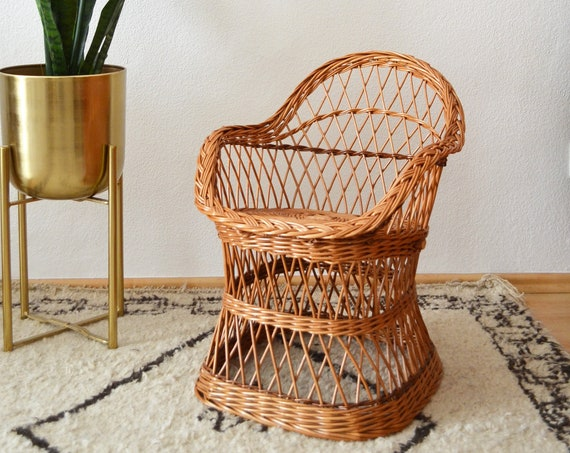 Vintage children's chair chair rattan vintage children's chair