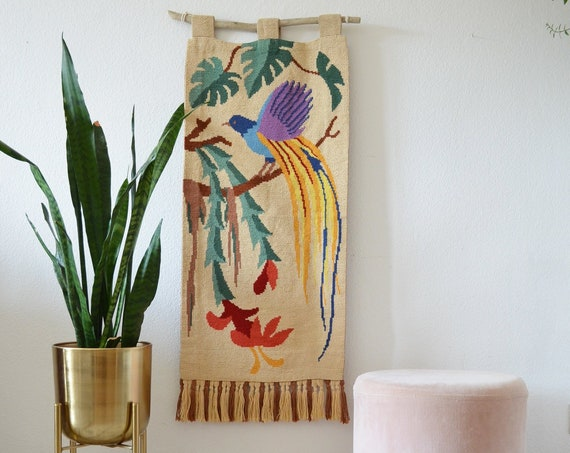 Vintage tapestry wall hanging bird Monstera leaves wall hanging jug beige bird of paradise