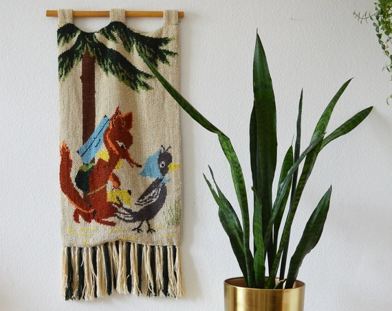 Vintage tapestry wall hangings Mr Fox's wife's magpie GDR bird plants wall hanging jug