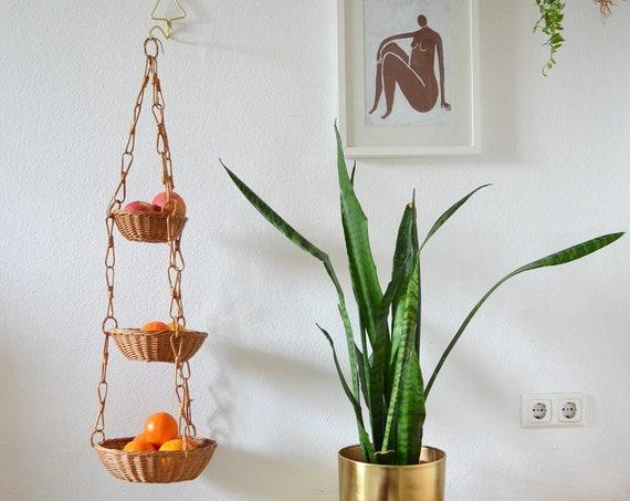 Vintage Bohemian wicker Triple hanging basket planter Rattan Boho 1970 's 70s